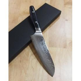 Faca japonesa multiuso santoku - YAXELL - Série YO-U - Aço VG10 damascus 37 camadas - Tam:16,5cm