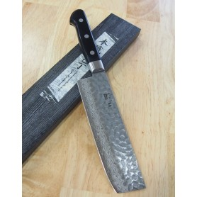 Faca japonesa nakiri MIURA KNIVES - Série Damascus black handle - Tam:16,5cm